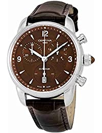 Certina Women's Quartz Watch with Black Dial Chronograph Display and Brown Leather Strap C025,217,16,297,00 XS