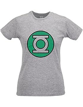 LaMAGLIERIA Camiseta Mujer Slim Green Lantern Logo - T-Shirt Sheldon Cooper Big Bang Theory 100% Algodòn Ring...