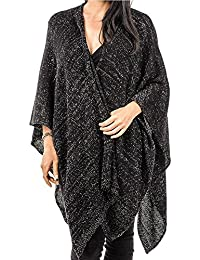 Black Wool Cashmere and Lurex Cape