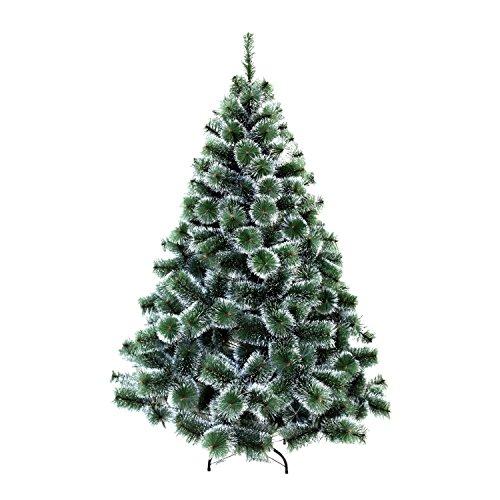 HENGMEI PVC Weihnachtsbaum Tannenbaum Christbaum Grün künstlicher mit Metallständer ca. Spitzen Lena Weihnachtsdeko (Grüne Tannennadeln mit Schnee-Effekt, 210cm)