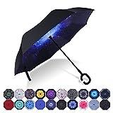 HISEASUN Winddichte Umgekehrter Regenschirm Doppellagiger Sturmsicherer Seitenverkehrter Groß Regenschirm mit C-griff für Auto und im Freiengebrauch(Blaue Galaxie)