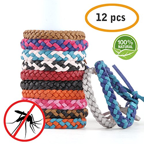 Moskito Anti Mücken Armband Mückenarmband 12er Set Moskito Repellent zum 180 Tage Insektenschu (Leder Moskito Armband)