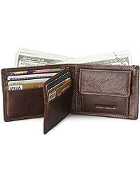 099323053 Teemzone RFID Bloque Cartera de Hombre Piel Marrón con Monedas Bilsillo