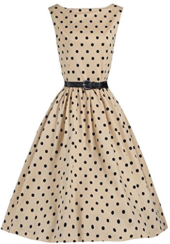 U-shot da donna a pois Tunica Anni 50 Retro Giardino Cocktail Party abito Swing Beige L/46