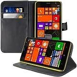 kwmobile Hülle für Nokia Lumia 1320 - Wallet Case Handy Schutzhülle Kunstleder - Handycover Klapphülle mit Kartenfach und Ständer Schwarz