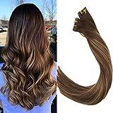 LaaVoo 22 Pouces Tape Extensions de Cheveux Humains Couleur Balayage Marron Foncé Se Fanant à Caramel Blonde Highlighted Real Remy/Remi Skin Weft 40pcs 100g/paquet(#4/27/4)