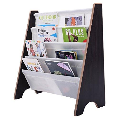 COSTWAY Kinder-Bücherregal Hängefächerregal Büchergestell Zeitungsständer mit 4 Ablagefächern (Kaffeebraun+Weiß) (Kinder-bücherregal)