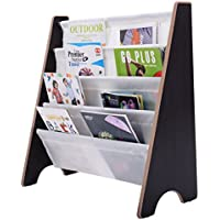 Preisvergleich für COSTWAY Kinder-Bücherregal Hängefächerregal Büchergestell Zeitungsständer mit 4 Ablagefächern (Natur+Bunt)