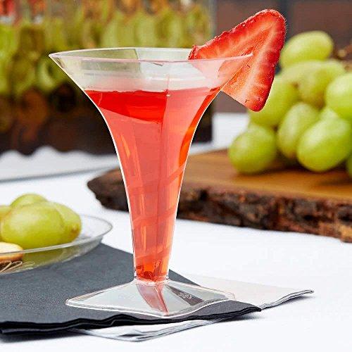Elegante mini Martini Gläser/Mini Weingläser/Mini, quadratisch Kunststoff Dessert Cups–50ml (60)–Set von 8 (Elegante Martini-gläser)
