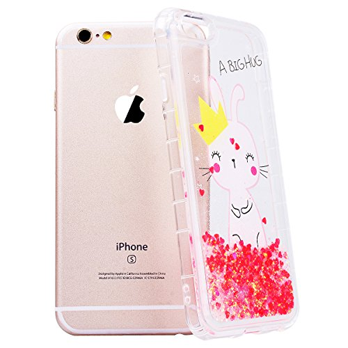 WE LOVE CASE iPhone 6 Plus / 6s Plus Cover Glitter Transparente Quicksand Liquido Cristallo Chiaro Diamante Bling Sparkle Liquid Sabbie Mobili AmoreCaramella iPhone 6 Plus / 6s Plus 5,5 Custodia Viol rabbit