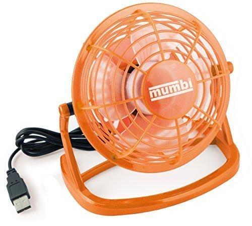 Preisvergleich Produktbild mumbi USB Ventilator - Mini Fan für den Schreibtisch mit An/Aus-Schalter, orange