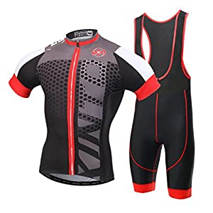 Skysper Ciclismo Maillot, Hombres Jersey + Pantalones cortos babero Mangas cortas de Ciclismo Ropa Maillot Transpirable para Deportes al aire libre Ciclo Bicicleta