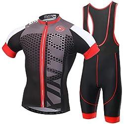 Ciclismo Maillot,Skysper Hombres Jersey + Pantalones cortos babero Mangas cortas de Ciclismo Ropa Maillot Transpirable para Deportes al aire libre Ciclo Bicicleta