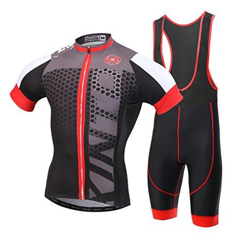 SKYSPER - Maillot de Cyclisme Manches Courtes + Cuissard VTT A Bretelles Respirant pour Homme, SXH, XL