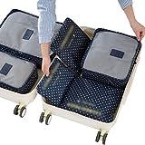 Dexinx 6 en 1 Set de Organizador de Equipaje Perfecto para Viaje con Cubos de Embalaje Impermeable Organizador de Maleta Bolsa para Ropa de Viaje Azul Marino2