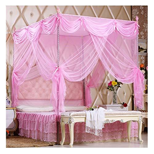 GWX Moskitonetz, Schlafzimmer Moskitonetz Bettbezug, Moskito-Abwehrmittel Mittel zum Schutz der Haut (DREI Farbauswahl) Edelstahl-Bodenständer,Pink,1.8 * 2.2