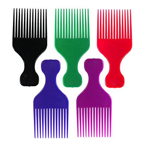 Couleur Plastique Afro Cheveux Peignes - Lot de 12