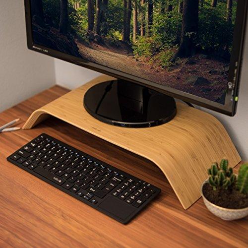 kalibri Bildschirm Holzständer TV Ständer - Computer Tisch Schreibtisch Aufsatz Monitorständer Desktop Bank - Schreibtischaufsatz aus Walnussholz - 2