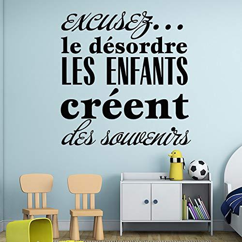 Kunst Design für das Chaos die Kinder schaffen Erinnerungen Vinyl Wandaufkleber Französisch gute Erinnerung Home Decor DIY Kinder Wand Zitate Aufkleber 58X60CM - Haut-ebene Ballon