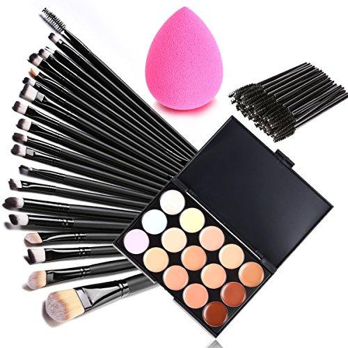 Preisvergleich Produktbild Yoliki Make Up Palette 70 Stück Kosmetikpinsel + 15 Farben Concealer Palette Abdeckcreme + Puff Sponge
