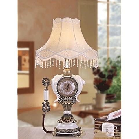 46 * 46 * 81 centimetri creativi in resina bianco perla retrò tavolo lampada orologio radio, ornamenti decorativi orologio radio camera da letto lampada da comodino