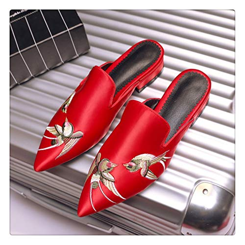 Hot 2018 Summer New Retro Embroidered Silk Women Sandals Pointed Elegant Women Slipper Non-Slip Fashion Shoes Sandals Woman Red 7.5