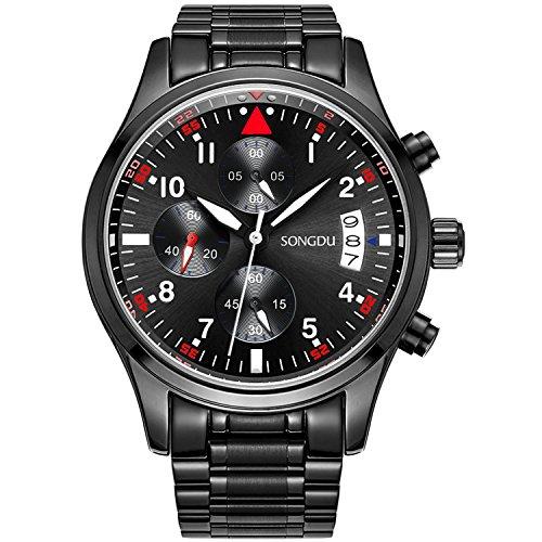 SONGDU Mens Quartz Wrist Watch Black Stainless Steel Bracelet with Chronograph Analogue Calendar Date Digital Display Luminous Numeral White Hand