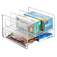 mDesign Kitchen Cabinet Storage Organizer Flip Rack for Aluminum Foil, Canned Goods - Clear