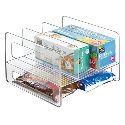 mDesign wandelbarer Küchen Organizer - Ordnungsbox für Küchenschrank und Speisekammer - clevere Küchen Aufbewahrung für Alufolie, Backpapier etc. aus beständigem Kunststoff - durchsichtig (Küchenschrank-organizer-korb)