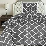 Utopia Bedding Bettwäsche-Set - Mikrofaser Bettbezug und Kissenbezug - (135 x 200 cm, Grau)