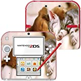 Sleeping Dog and Cat, Skin Sticker Vinyl Cover with Leather Effect Laminate and Colorful Design for Nintendo 2DS by Virano