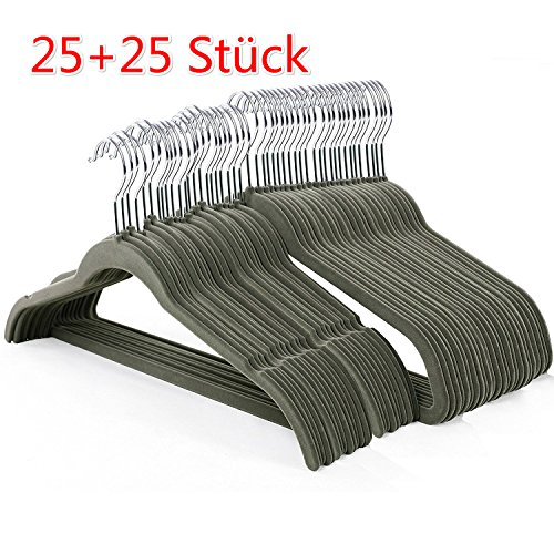 Coorun Kleiderbügel, 25 Stück 5mm Dick Anzugbügel Jackenbügel mit rutschfeste Oberfläche + 25 Stück Kleiderbügel mit Rockkerben Samt, 360° drehbarer Haken