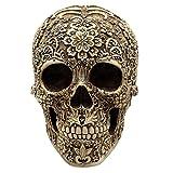AOLVO - Figura Decorativa de Calavera, Exquisita Resina de Pirata vikinga, diseño de Calavera Floral, gótico, Regalo Medieval para Halloween, decoración del hogar, decoración de Bar