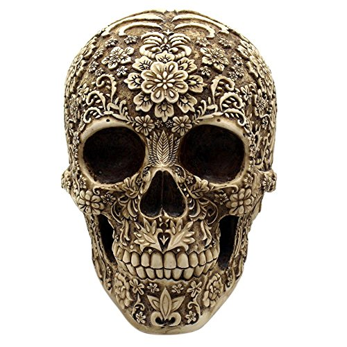 AOLVO Skull Figuren, exquisite Kunstharz Viking Pirat Floral Skull Statue, Fantasy Gothic Mittelalter Geschenke für Scary Halloween Dekorationen Home Ornament Bar Decor