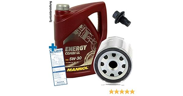 Ölwechsel Set Inspektion 5 Liter Mannol Energy Combi Ll 5w 30 Motoröl Ölfilter Öl Ablassschraube Verschlussschraube Auto