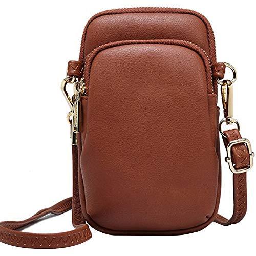 WANYIG Crossbody Tasche Damen PU Leder Umhängetasche Frauen Brieftasche Geldbörse Handy Mini-Tasche Kartenhalter Schulter Brieftasche Tasche (Braun) - Leder Ein-schulter Brieftasche