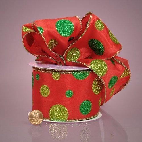Red and Green Glitter Polka Dots Satin Ribbon, 2-1/2 X 10Yd by Paper Mart Glitter Dot Satin