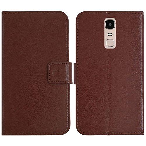 TienJueShi Brown Flip Book-Style Brief Leder Tasche Schutz Hulle Handy Case Abdeckung Fall Wallet Cover Etui Skin Fur Doogee Y6 Max 6.5 inch