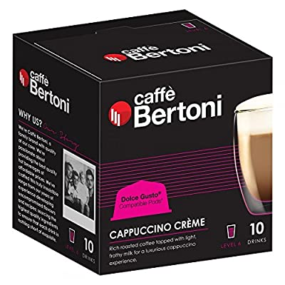 Caffe Bertoni Cappuccino Creme - Dolce Gusto Compatible Coffee Pods - Bulk Box 50 Pods from Caffeluxe