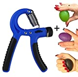Elite Sportz Adjustable Hand Grips Strengtheners and 3 Grip Strengthener Balls - Resistance Range of 22lbs to 88lbs