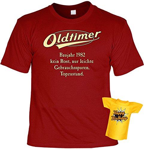 T-Shirt 35.Geburtstag Geschenkset : Baujahr 1982 - 35 Jahre -- Set Goodmann ® mit Mini T-Shirt für Flaschen Dunkelrot