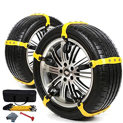 GUARD & REVIVAL TREAT Universal-Schneeketten für Autos 10-teilige Reifenketten, verdicktes TPU-Material, geeignet für die meisten Autos / SUVs / LKWs, Felgenbreite 185-295 mm.