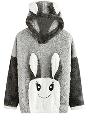 Bluestercool Hoodie Inverno Caldo Donna Felpa Coniglio Sveglio Pullover