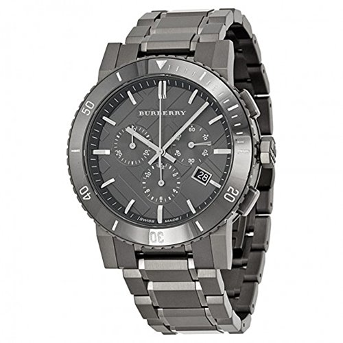Swiss Burberry LUXURY Chronograph Watch Men Unisex The City Ion-Plated Gunmetal Date Dial Ceramic Bezel BU9381
