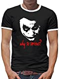 Touchlines Merchandise Joker Why so Serious? Kontrast T-Shirt Herren L Schwarz