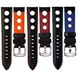 Geckota® Genuine Italian Leather Rally Sport Watch Strap, Black with Contrasting Stitching
