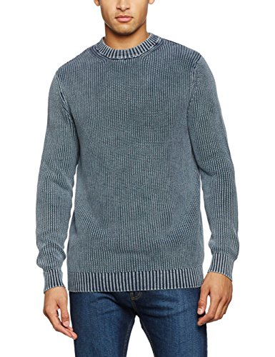 New Look Herren Pullover Acid Wash, Blau (Mid Blue 40), Medium