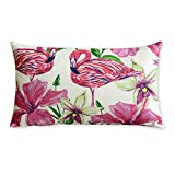 Tropical plants and flamingos Cotton Linen Pillowcase American art Cushion Decorative Pillows Home Decor Sofa Throw Pillow Cover Almofada