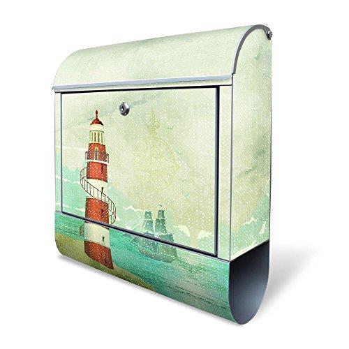 BANJADO Design Briefkasten mit Zeitungsfach, 2 Schlüssel, A4 Einwurf, silber pulverbeschichtet, mit Motiv Alter Leuchtturm