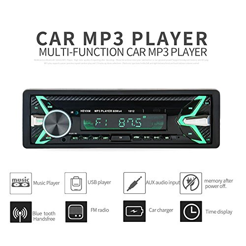 Radio de voiture stéréo vidéo fm radio, 1012 Universal DC 12V 4 x 60W autoradio Mp3 Player avec Interface standard ISO, AUX-IN SD USB, MMC WMA, Microphone,7 backlights colorés